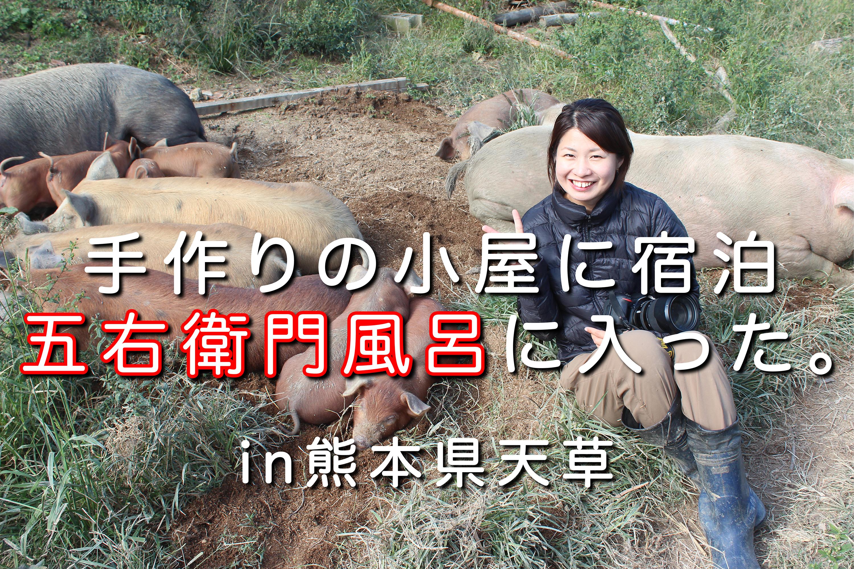 手作りの小屋に宿泊し、五右衛門風呂に入ってみた。|日本一周農家旅 だるま放牧豚 in 熊本県天草